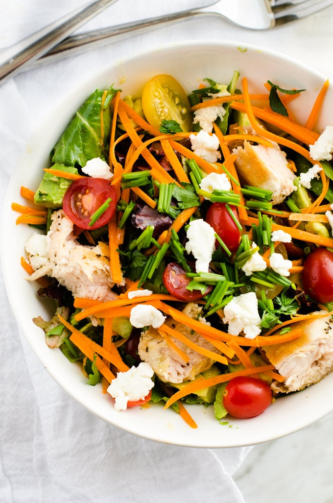 Fresh Herb Salad with Grilled Chicken, Goat Cheese & Avocado