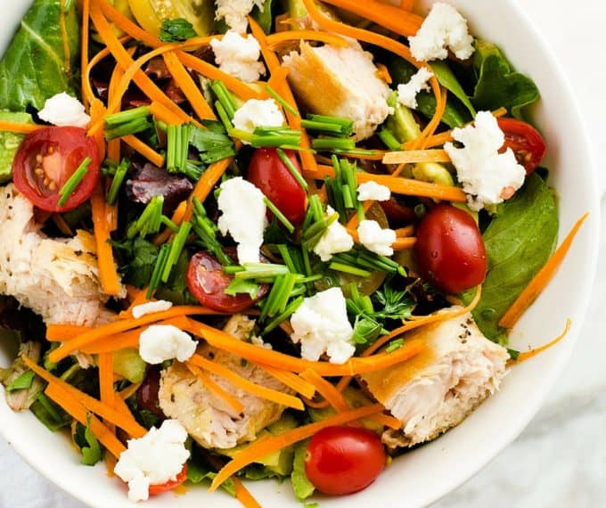 Fresh Herb Salad with Grilled Chicken, Goat Cheese and Avocado