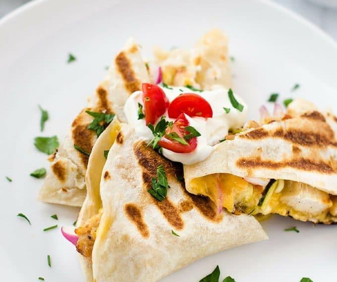 Chicken & Marinated Veggie Quesadillas