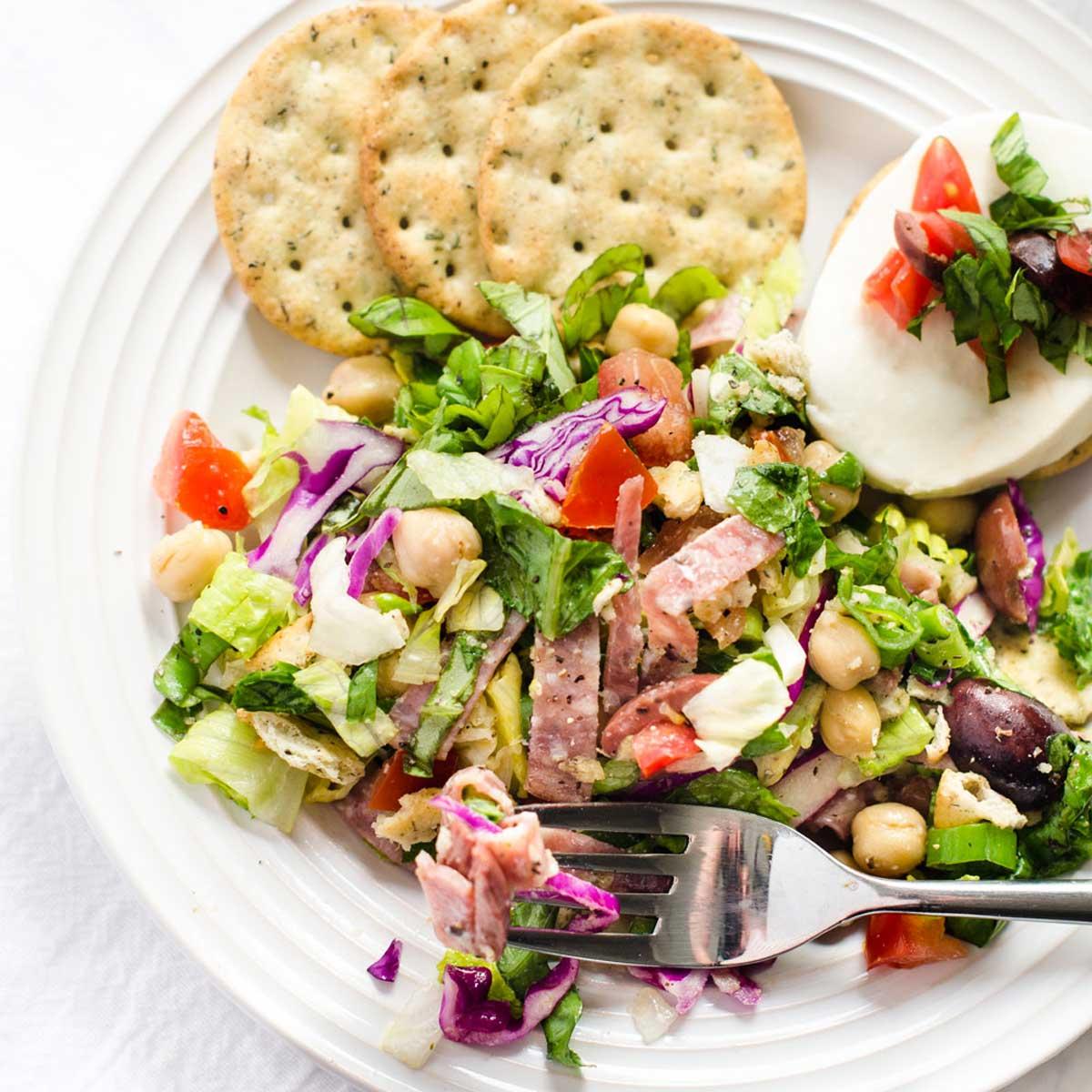 Square overhead photo of a plate of Italian Chopped Salad.