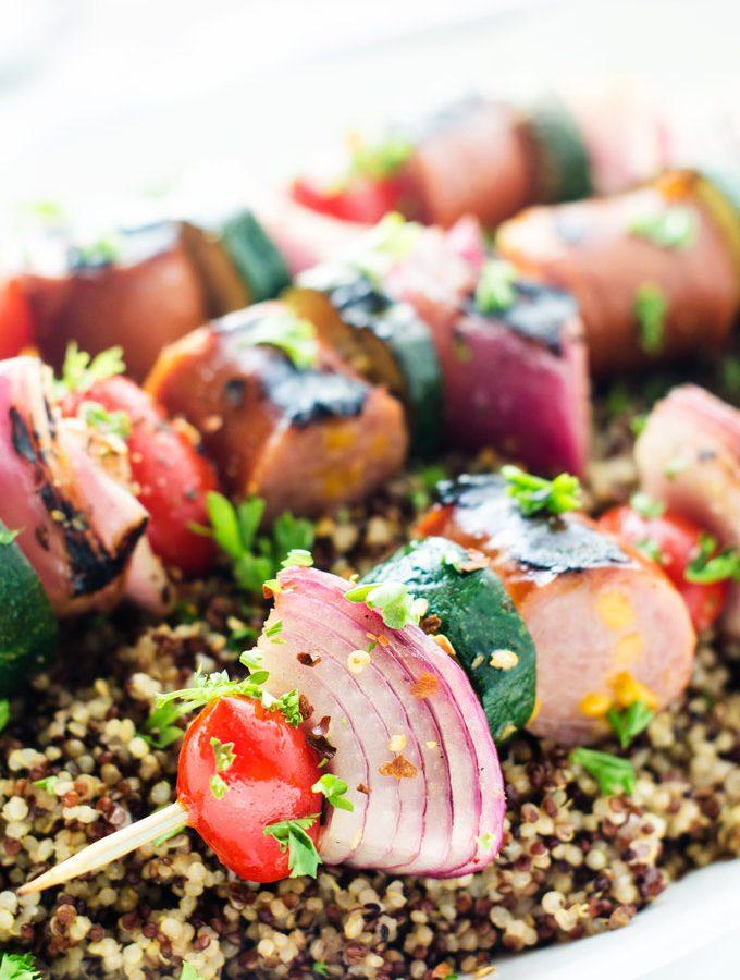 Grilled Veggie & Sausage Kebabs