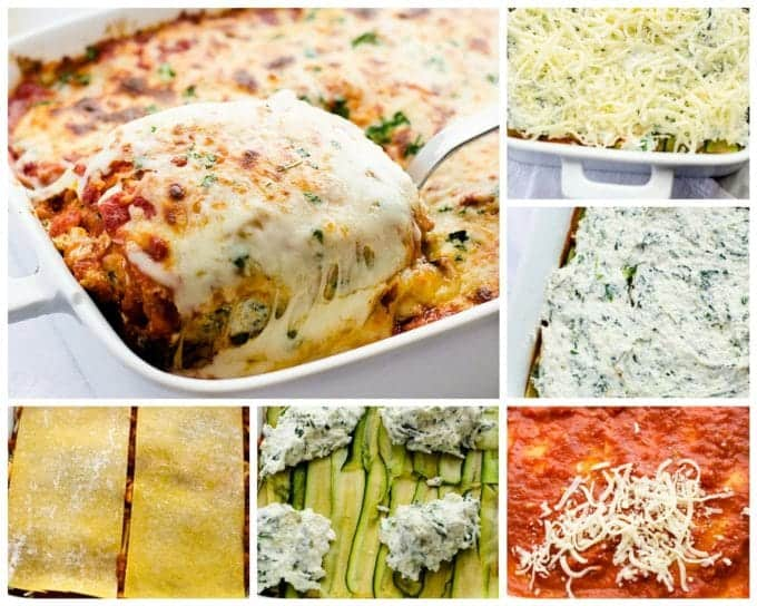 Process photos for easy veggie lasagna.