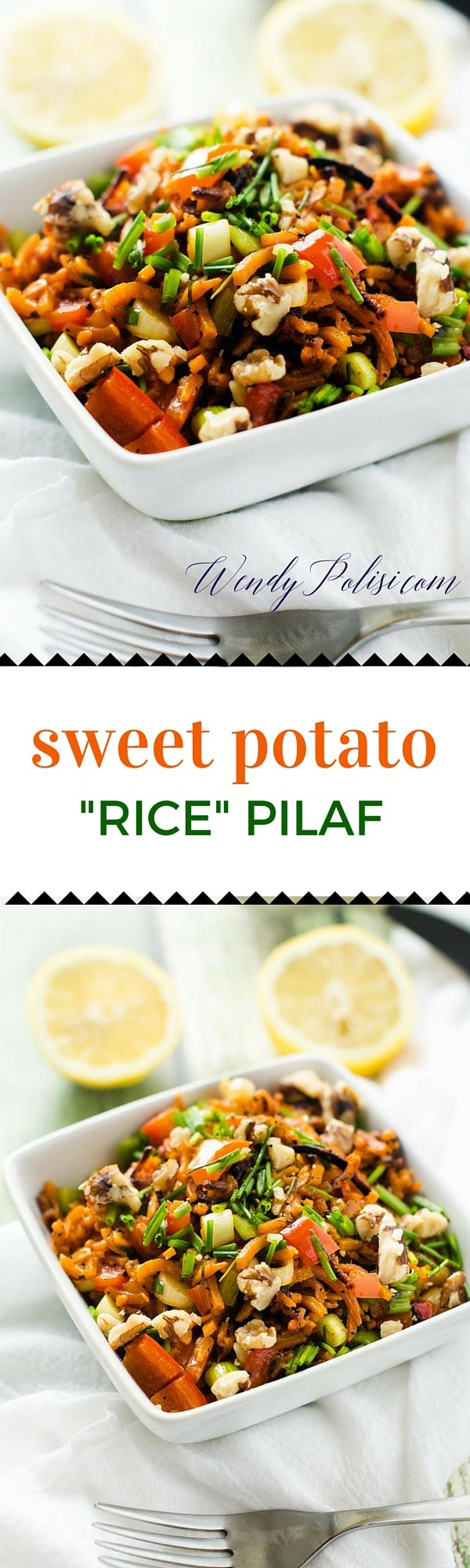 Sweet Potato Rice Pilaf This Sweet Potato Rice Pilaf is easy to make, delicious and packed with nutrition.  With sweet potatoes, red pepper, shallots, and chives you can't go wrong! #thereciperedux