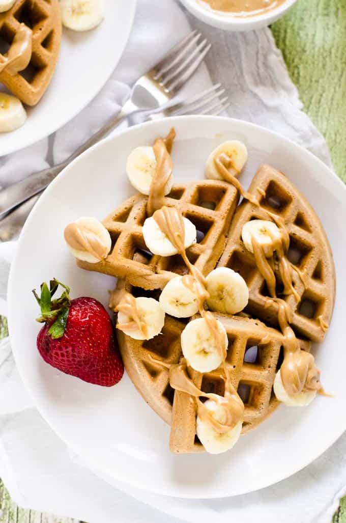 Gluten Free Maple Peanut Butter Waffles