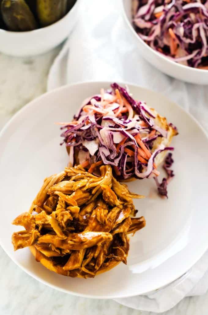 Spicy Slow Cooker Chicken Sandwiches