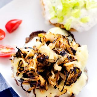Cheeseburgers with Sautéed Onions and Horseradish Mayo