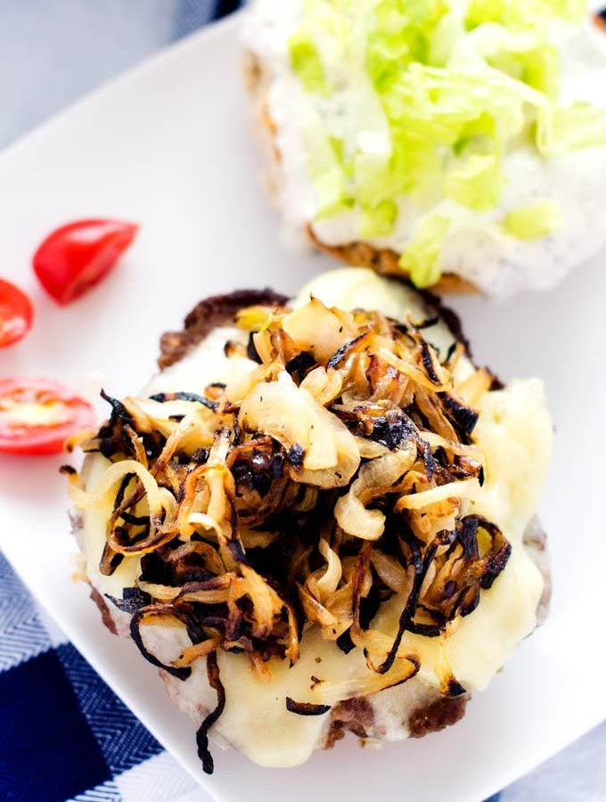 Cheeseburgers with Sautéed Onions and Horseradish Mayo