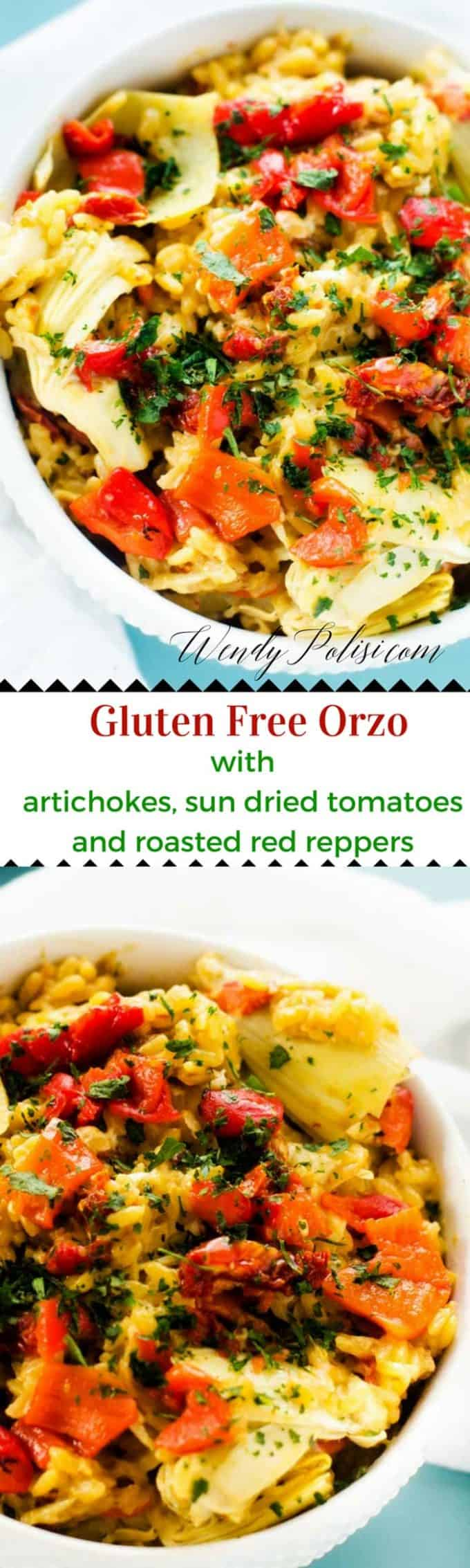 Gluten Free Orzo with Artichokes, Sun Dried Tomatoes & Roasted Red Peppers - This Gluten Free Orzo with Artichokes, Sun Dried Tomatoes & Roasted Red Peppers is an easy to make side dish or vegetarian meal.