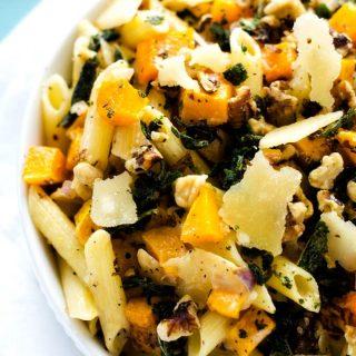 Gluten Free Penne Pasta with Butternut Squash, Walnuts & Parmesan