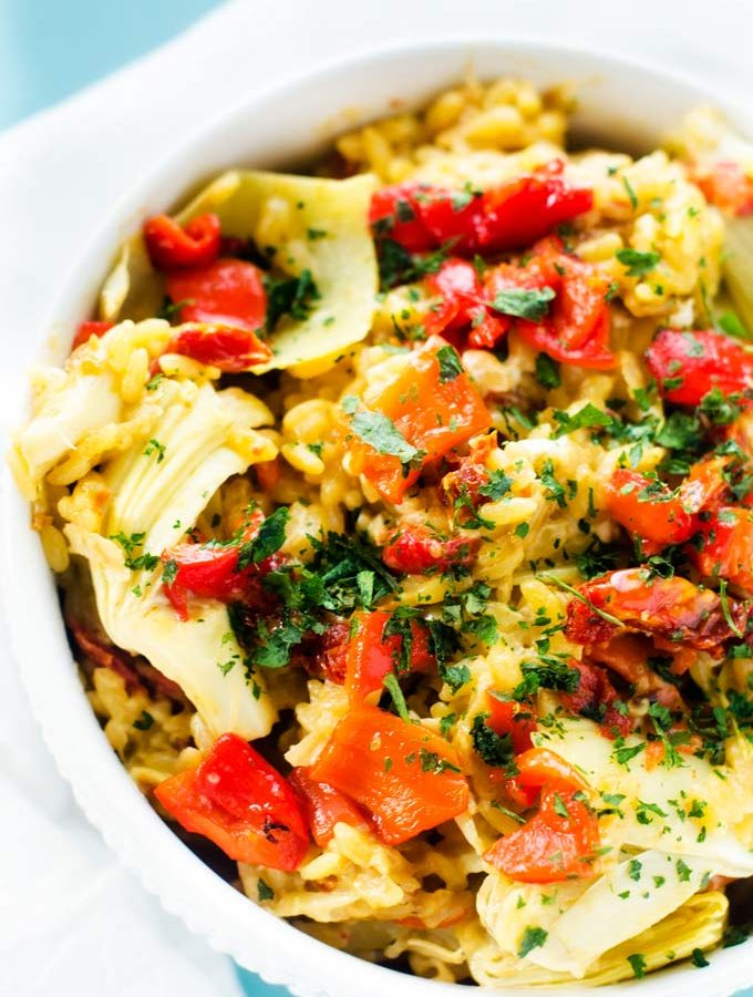 Gluten Free Orzo with Artichokes, Sun Dried Tomatoes & Roasted Red Peppers