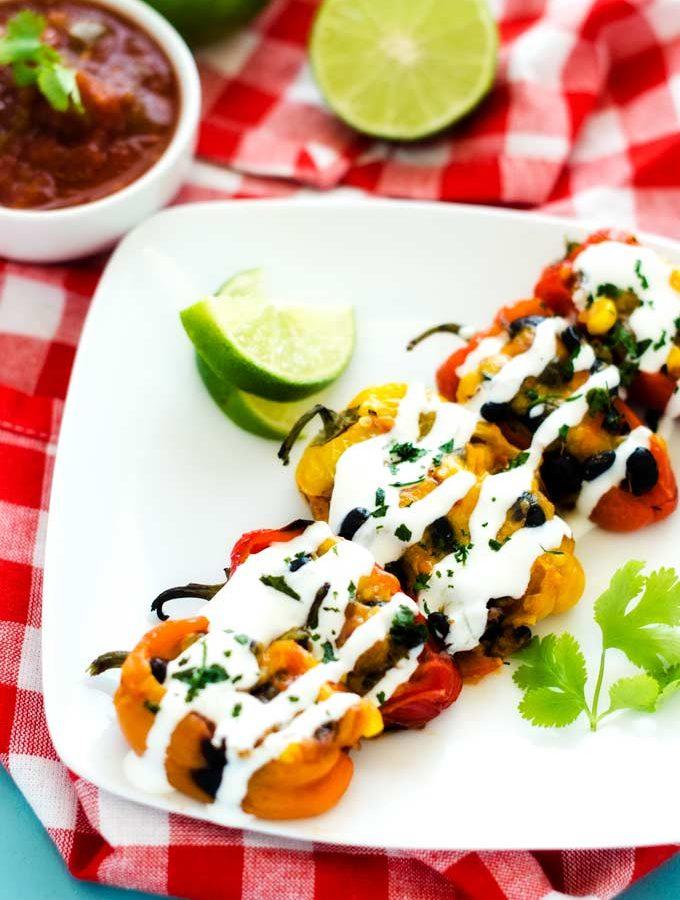 Southwestern Stuffed Mini-Peppers & Black Bean Taquitos