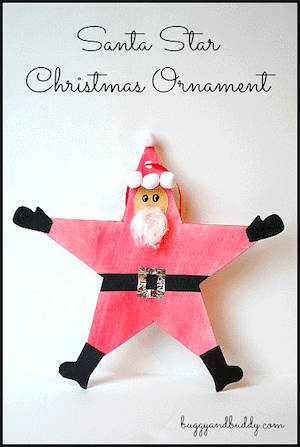 Photo of a Santa Star Christmas Ornament against a white background.