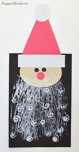 Photo of a DIY Santa Craft for Kids on a white background.