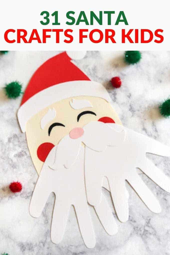 "Photo of a Santa craft with the text above ""31 Santa Crafts for Kids"""