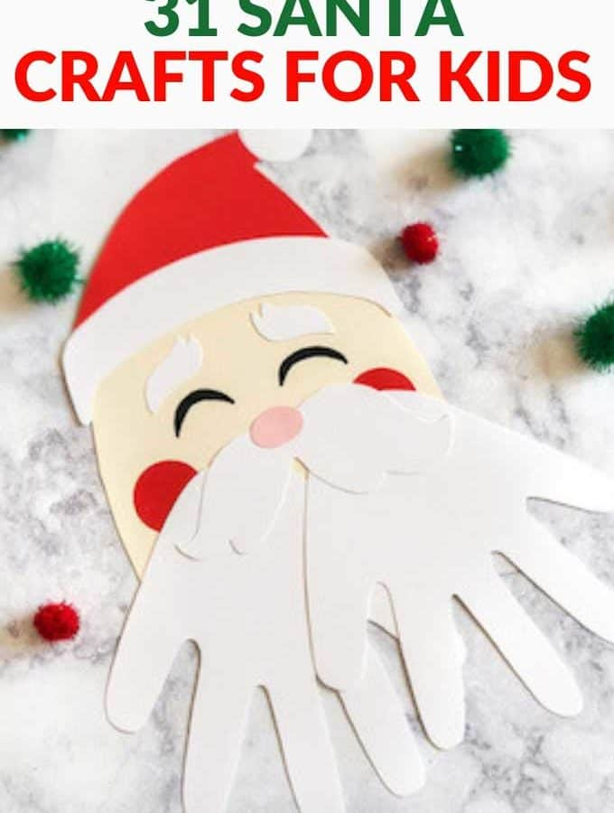 """Photo of a Santa craft with the text above """"31 Santa Crafts for Kids"""""""