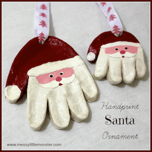 Photo of two Salt Dough Handprint Ornaments.