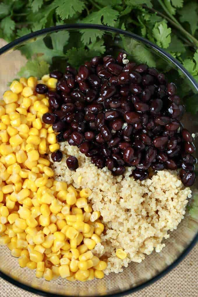 Process photo of Mexican Quinoa Salad - image of a bowl of quinoa, black beans and corn