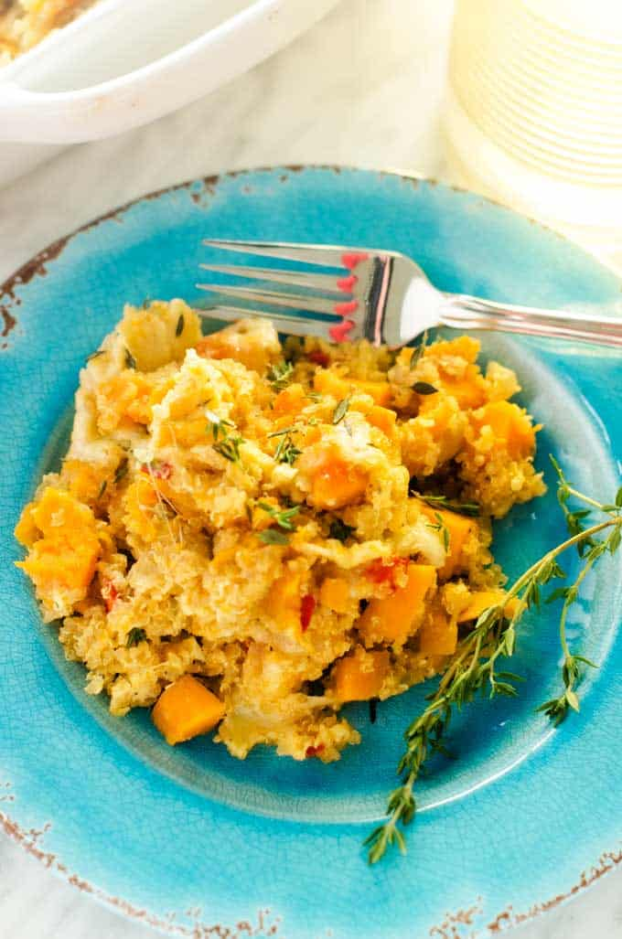Blue plate with a serving of Sweet Potato Quinoa Casserole.