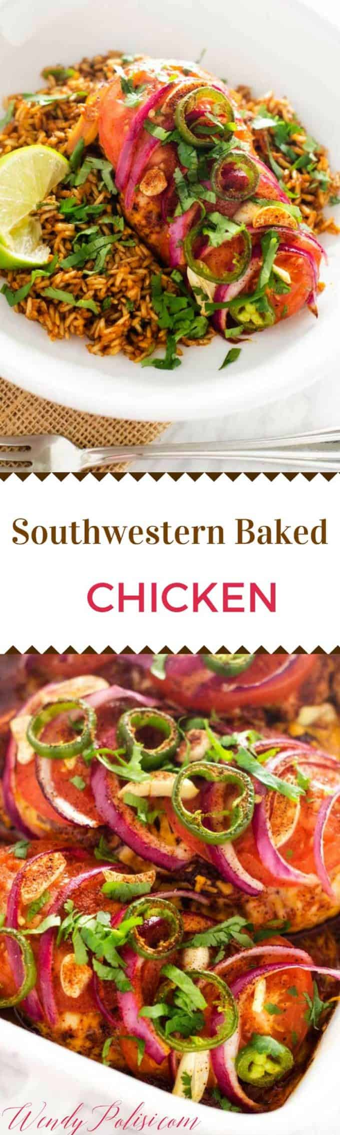 This Southwestern Baked Chicken is a delicious and healthy dinner recipe.  It is easy to make-ahead so that dinner is ready to pop in the oven at the end of a busy day.