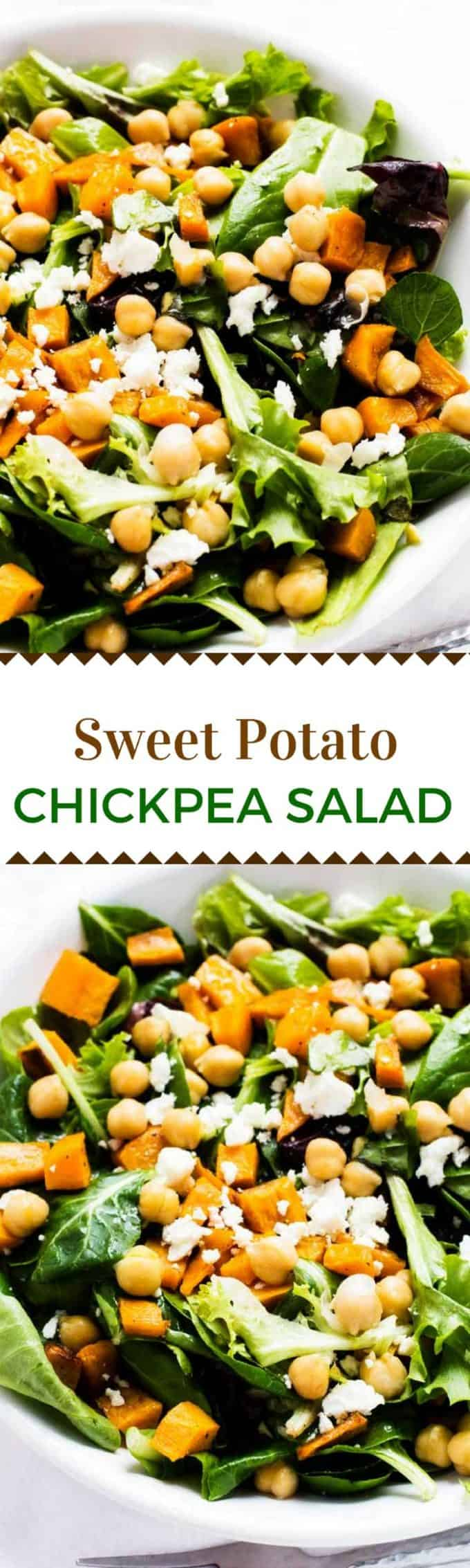This Sweet Potato Chickpeas Salad makes a delicious healthy side dis or fabulous vegetarian main course salad.
