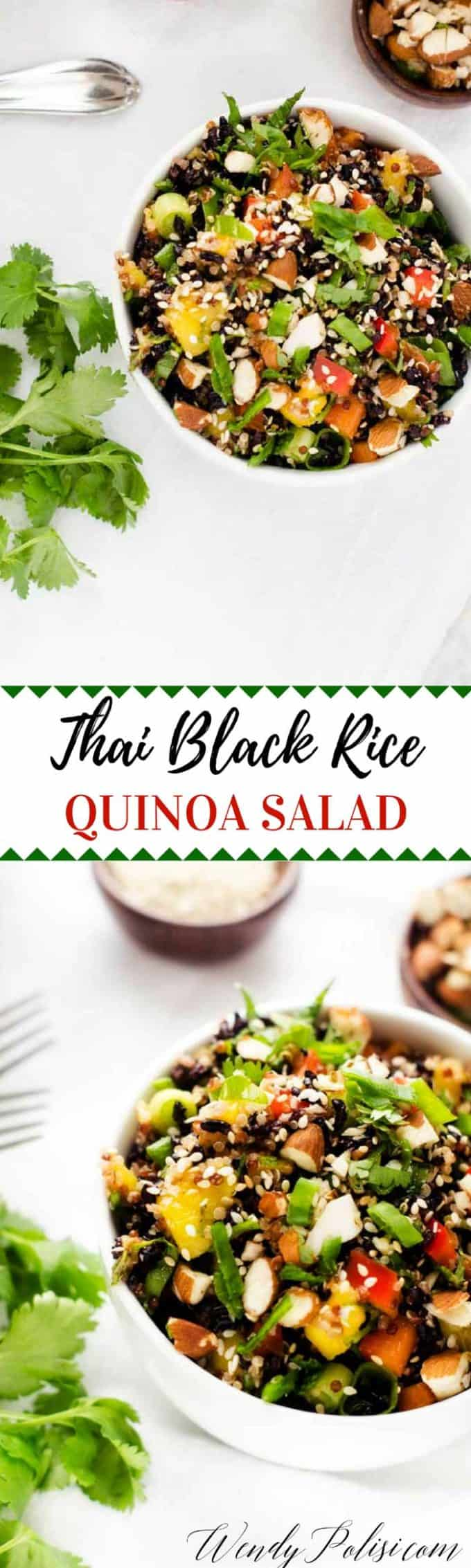 I am not sure how many quinoa salad recipes I've created, but I would guess that between the website and books the number is upwards of a hundred.  This Thai Black Rice and Quinoa Salad is without question in my Top 5 All Time Favorites.