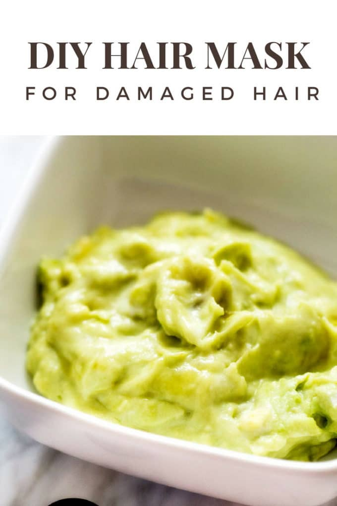 Photo of a DIY Hair Mask for Damaged Hair in a small white bowl.
