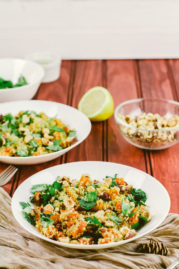 Quinoa Salad With Crispy Roast Butternut Squash and Hazelnuts