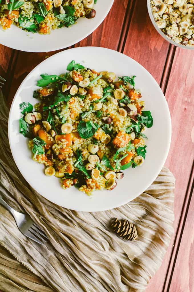 Quinoa Salad With Crispy Roast Butternut Squash and Hazelnuts