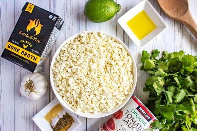 Process photo for Spanish cauliflower rice - ingredients unmeasured.