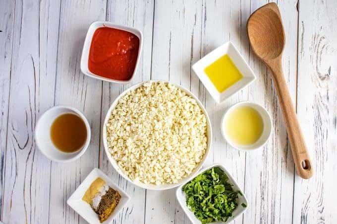 Ingredients measured for Spanish cauliflower rice recipe.