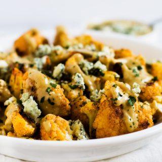 Buffalo Roasted Cauliflower with Smokey Blue Cheese Sauce