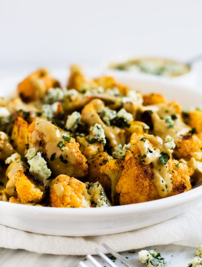 Buffalo Roasted Cauliflower with Smokey Blue Cheese Sauce