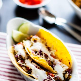 Curried Quinoa Tacos with Garlic Lime Cream Sauce