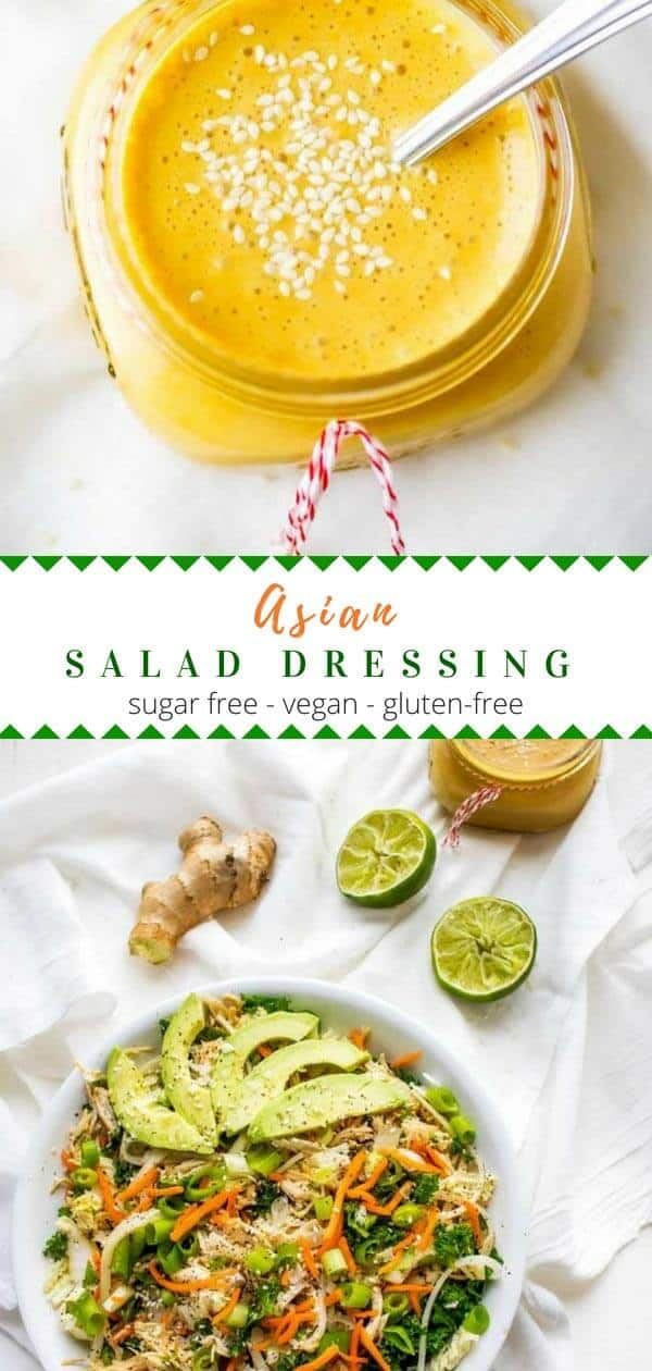 This homemade Asian Salad Dressing Recipe is easy to make and healthy!  With rice vinegar and ginger, this no sugar recipe is a simple dressing that packs a lot of flavor.