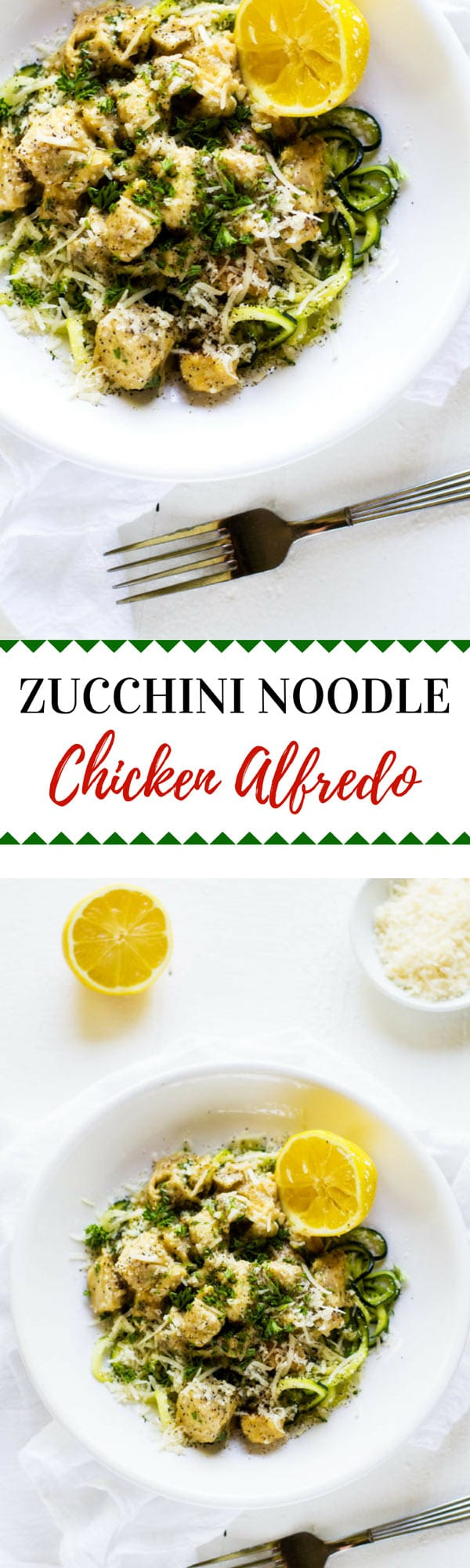 This Chicken Zucchini Noodle Alfredo is a delicious low-carb option to traditional pasta. Keto Friendly with the use of heavy cream or use my quinoa cream recipe for a lower fat alternative.  This Zucchini Pasta with Chicken is one the whole family will love. #lowcarb #keto #glutenfree
