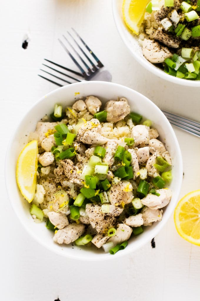 This Healthy & Easy Lemon Chicken Stir Fry with Cauliflower Rice is a fabulous low-carb dinner that the whole family will love.