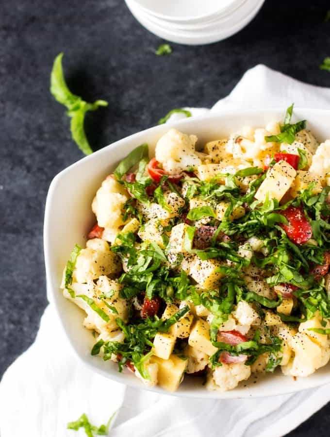 Spicy Cauliflower Salad with Smoked Gouda, Tomatoes & Basil
