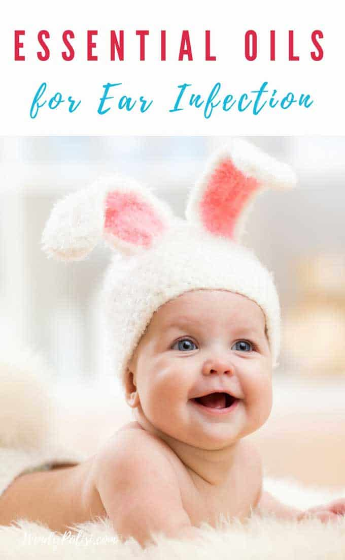 Photo of baby wearing rabbit ears and the copy Essential Oils for Ear Infections