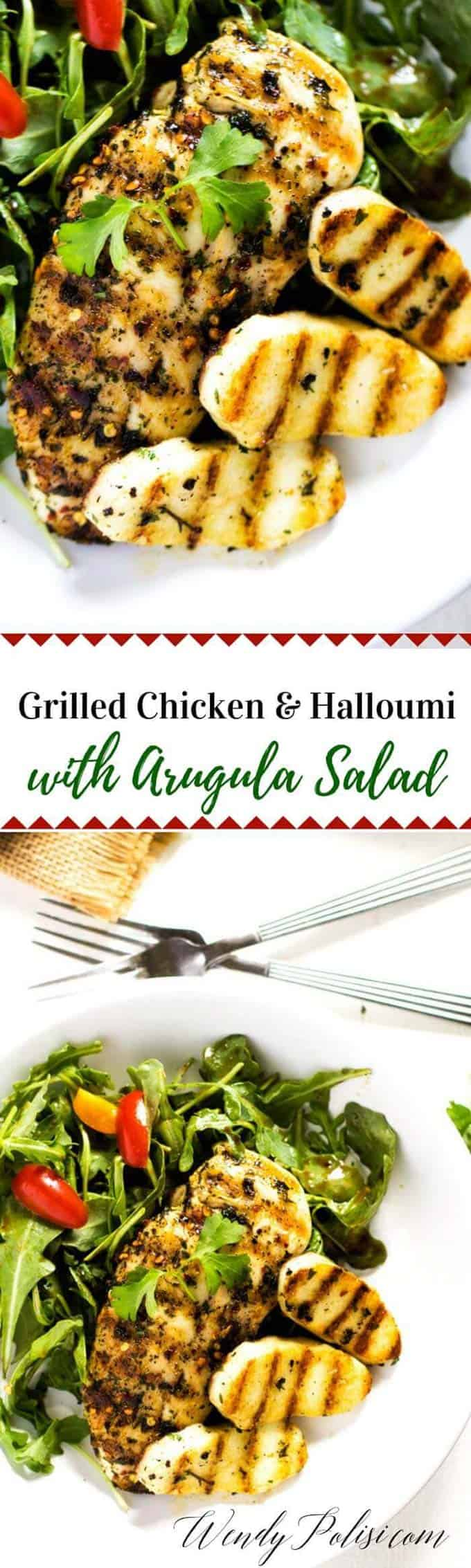 This Grilled Chicken & Halloumi with Arugula Salad is an easy and delicious way to fire up your grill. It's gluten-free, low-carb and keto friendly.