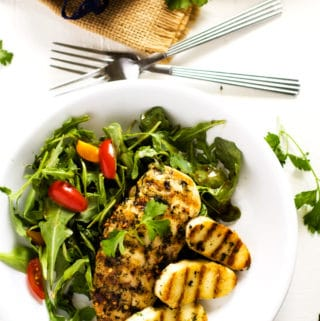 Grilled Chicken & Halloumi with Arugula Salad