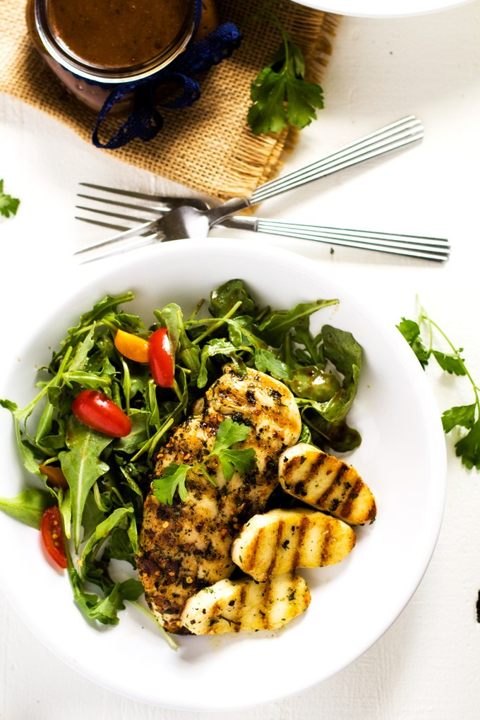 This Grilled Chicken & Halloumi with Arugula Salad is an easy and delicious way to fire up your grill. It's gluten-free, low-carb and keto-friendly.