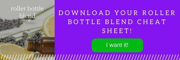 Photo of Roller Bottle Blend Cheat Sheet Ebook with the text stating to subscribe to get it.