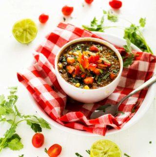 Vegan Black Bean Soup with Quinoa