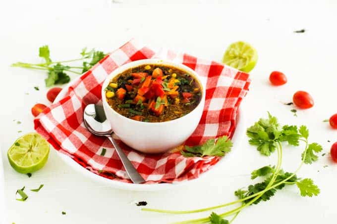 Horizontal photo of Vegan Black Bean Soup with ingredients scattered