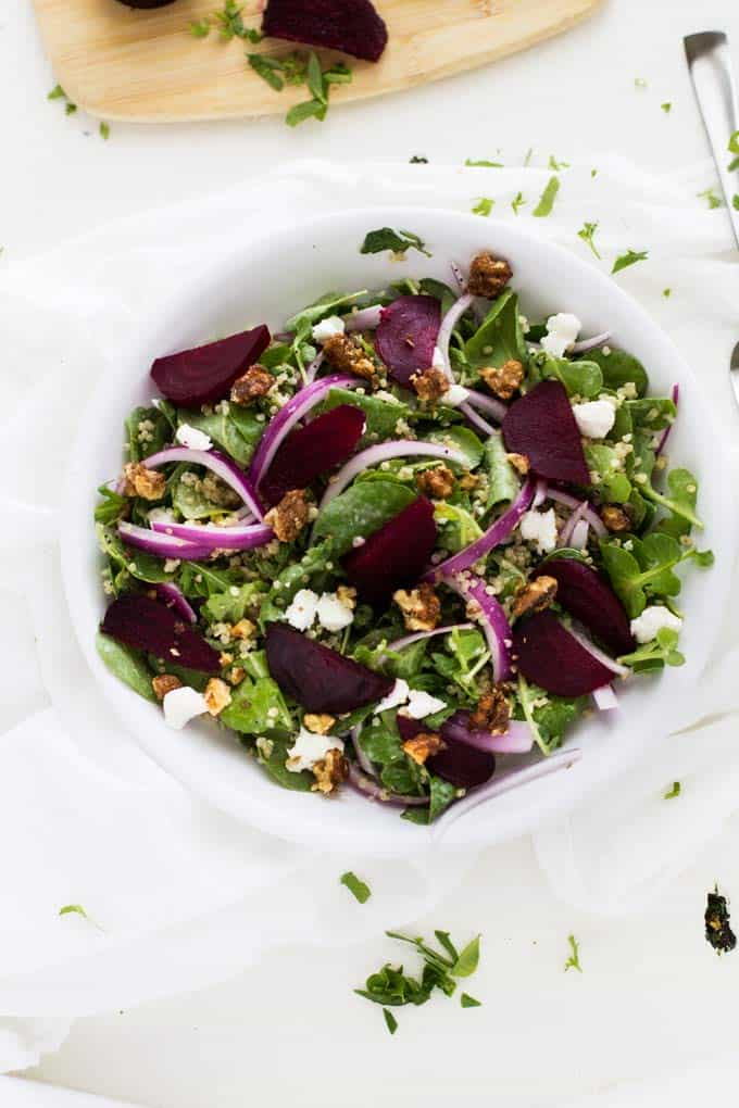 Overhead shot of Roasted Beet Salad with Goat Cheese & Quinoa