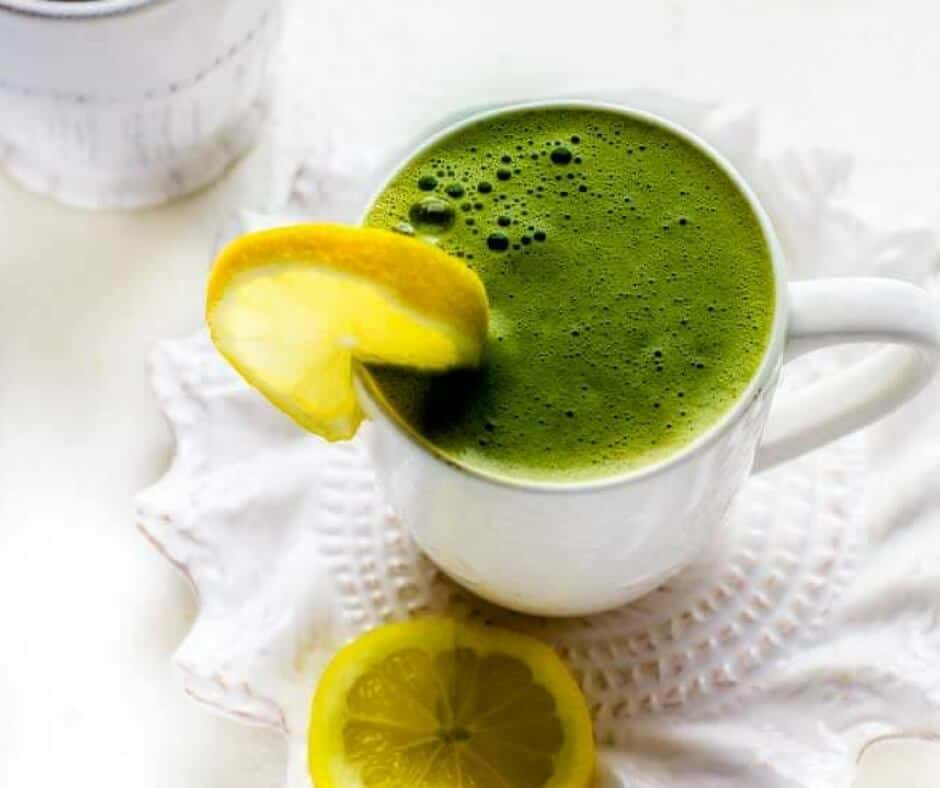 Matcha Green Tea Latte With Lemon And Collagen Protein