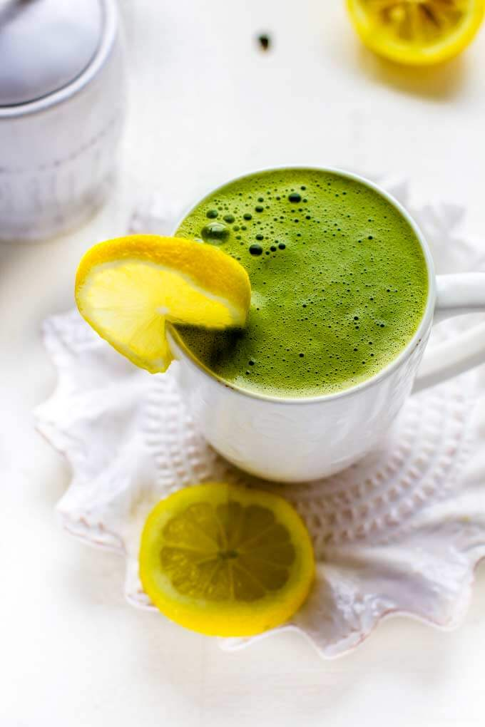 Matcha Green Tea Latte in a White Mug