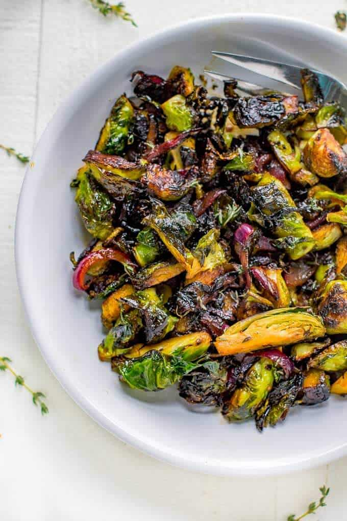 Close up overhead shot of Caramelized Brussels Sprouts