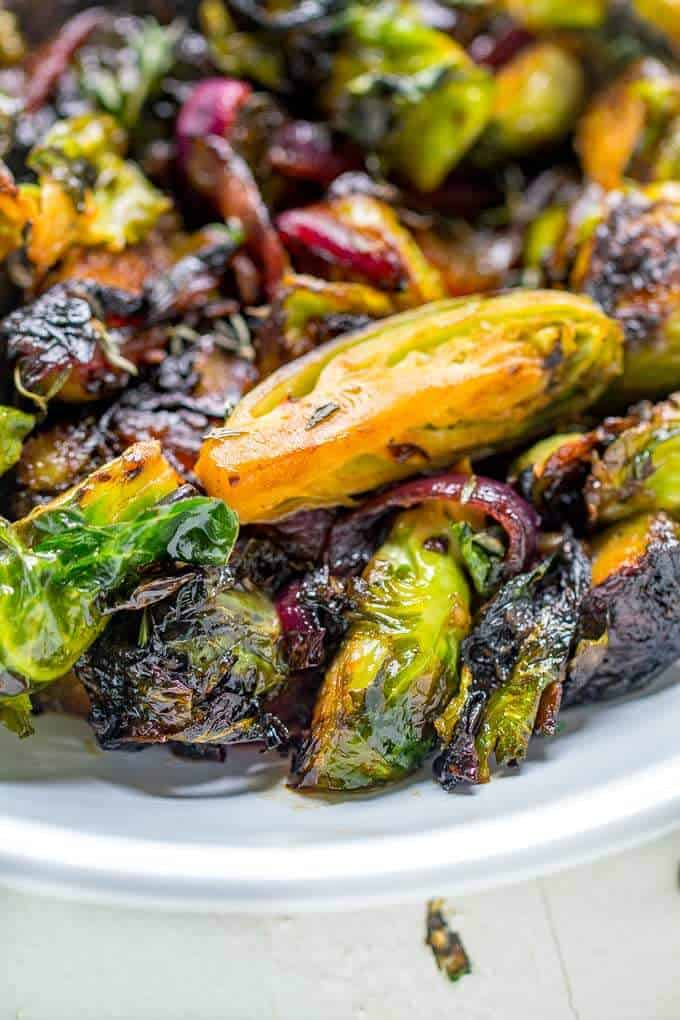 Close Up Shot of Caramelized Brussels Sprouts