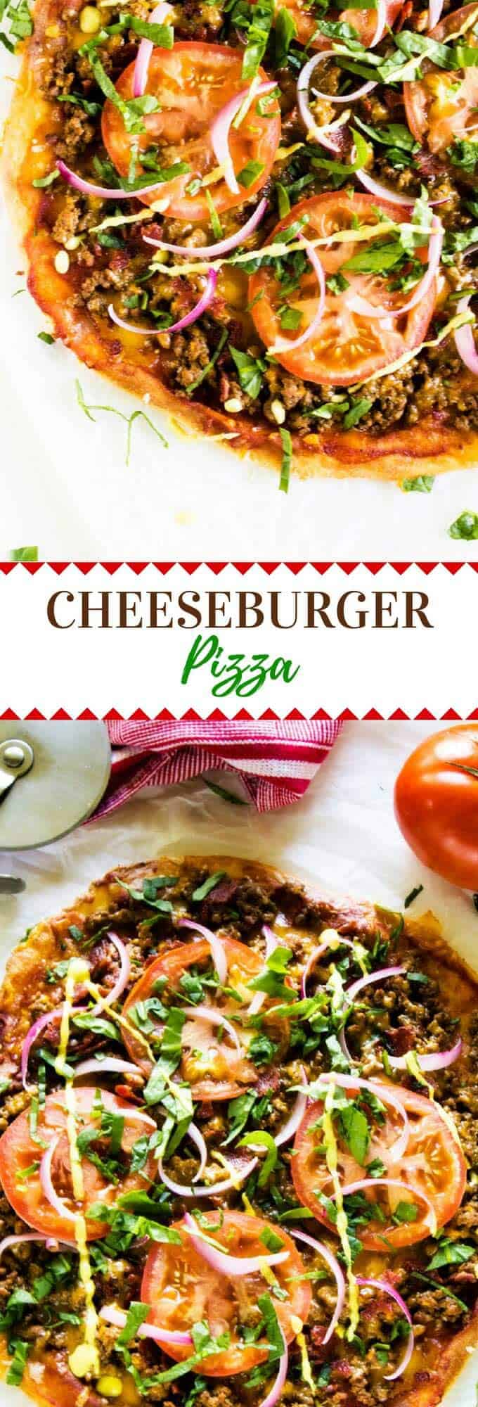 Mix up your pizza night with this Bacon Cheeseburger Pizza recipe.  It is the perfect blend of two favorites.  This pizza is one the whole family will love. Use Cauliflower Crust or Fathead Pizza Dough for a low carb or Keto option.